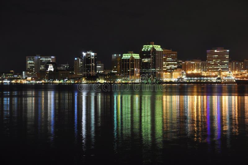 Halifax Nova Scotia bij nacht stock afbeelding
