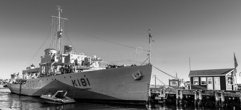 Halifax Nova Scotia, Kanada - Oktober 20 2016: För HMCS Sackville K181 för krigsskepp skepp för museum nu, i Halifax royaltyfri bild