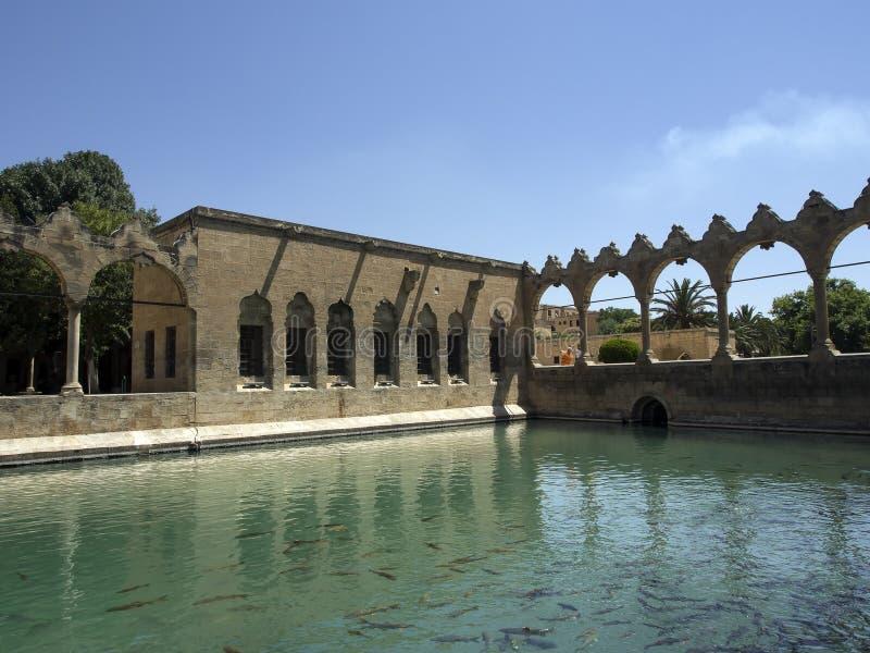 Halil-ur Rahman Mosque e lago santamente Sanliurfa, Turquia fotografia de stock royalty free