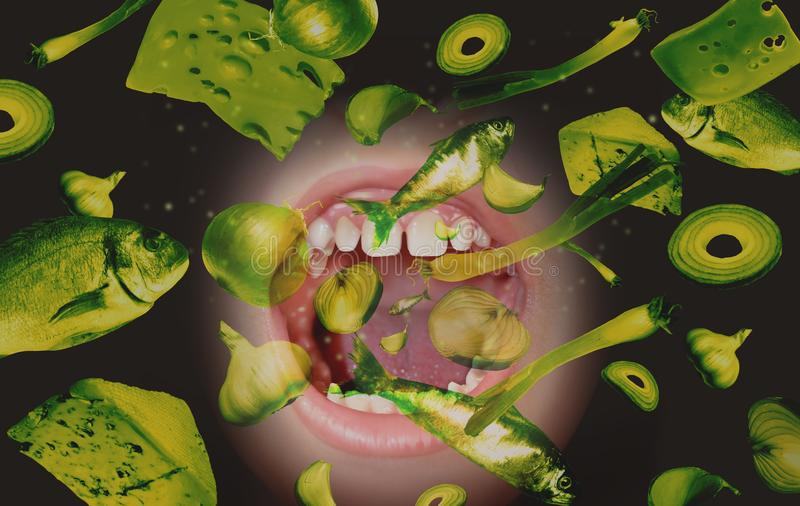 Halitosis Bad Breath And Eating Smelly Food royalty free stock image