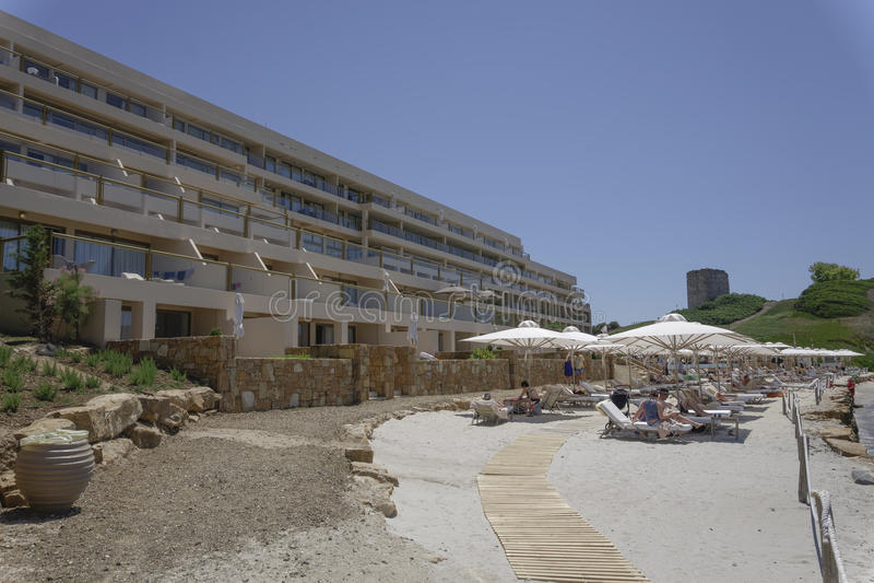 Halkidiki, Greece Sani luxury hotel resort beach view. stock photos