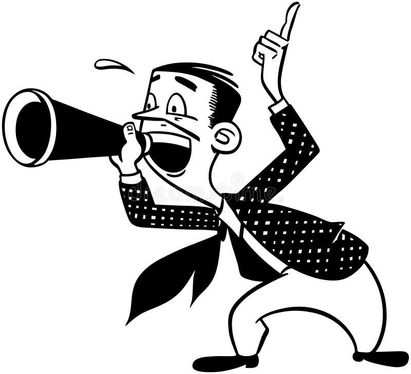 Hallåman med megafonen vektor illustrationer
