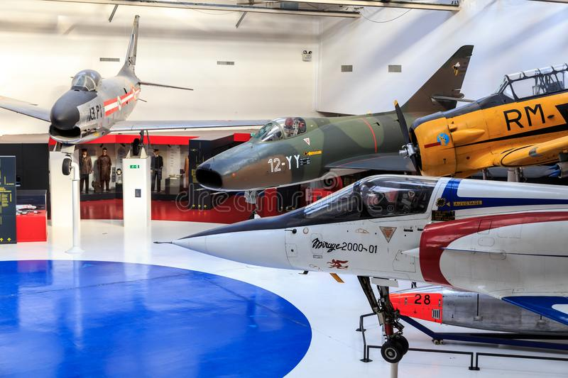 Aircraft museum Le Bourget. Hall in the Air and Space Museum in le Bourget, France, with F-86 Sabre, Dassault Super Mystère and Dassault Mirage 2000 stock image