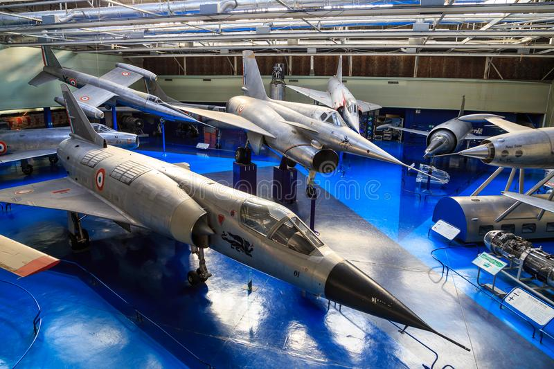 Airplane museum le Bourget. Hall in the Air and Space Museum in le Bourget, France, with prototypes from the Frenc aviation industry Leduc 0.10, Dassault Balzac stock photos
