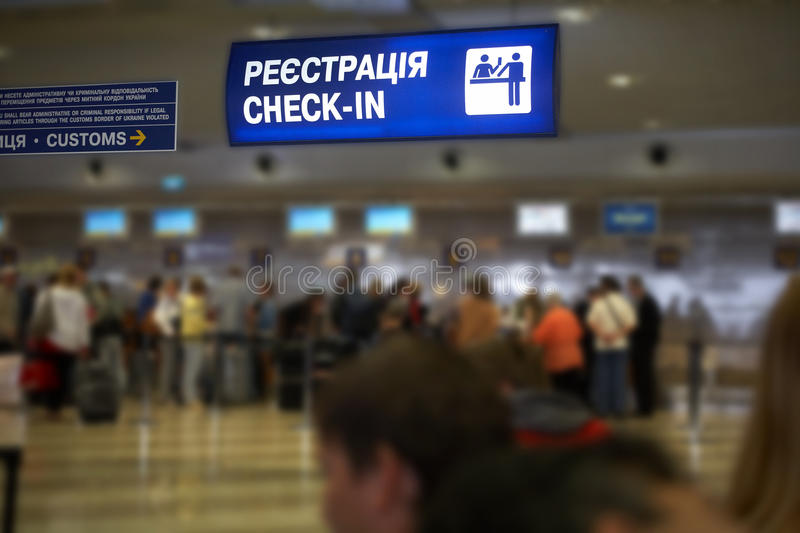 Hall of the airport. Tourist info signage in airport in international language stock photo