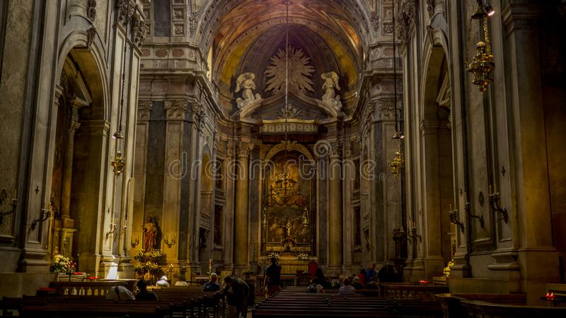Hall and altar in Basilica da Estrela in Lisbon royalty free stock images
