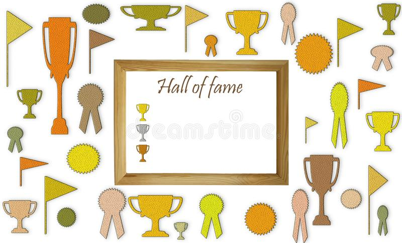 Hall av berömmelsebegreppet med fritt tomt kopieringsutrymme Koppar, medaljer och emblem med vitt utrymme i trärammodellen arkivfoto