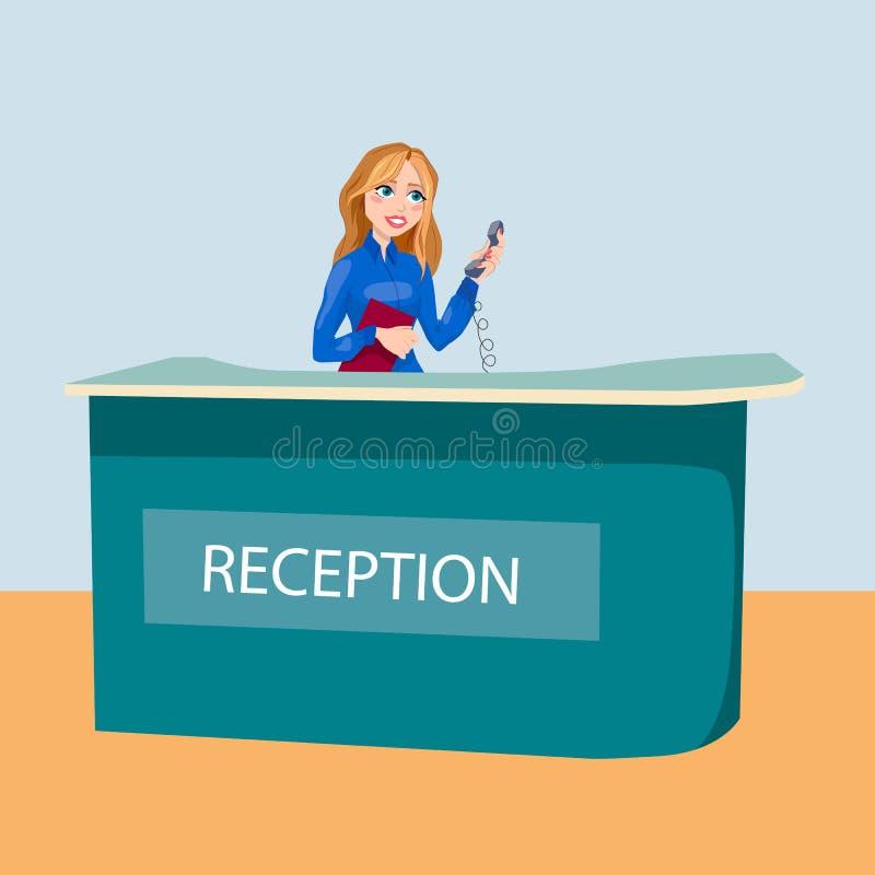 Hall avec la femme réception de bureau ou d'hôtel illustration de vecteur