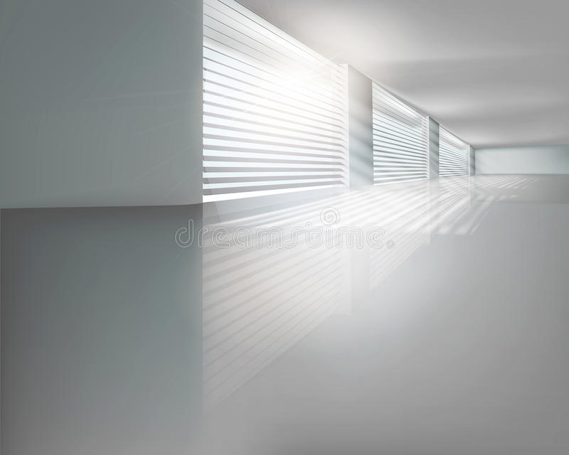 Hall with blinds. Vector illustration. Illuminated hall with blinds. Vector illustration vector illustration