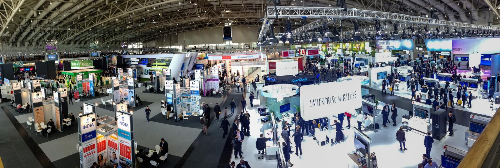 Hall 2 at CeBIT information technology trade show. HANNOVER, GERMANY - MARCH 15, 2016: Hall 2 at CeBIT information technology trade show in Hannover, Germany on royalty free stock photography