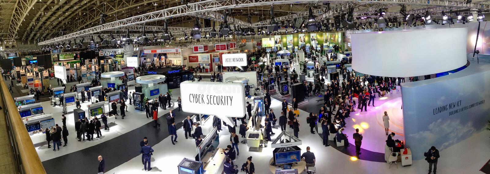 Hall 2 at CeBIT information technology trade show. HANNOVER, GERMANY - MARCH 15, 2016: Hall 2 at CeBIT information technology trade show in Hannover, Germany on stock photos