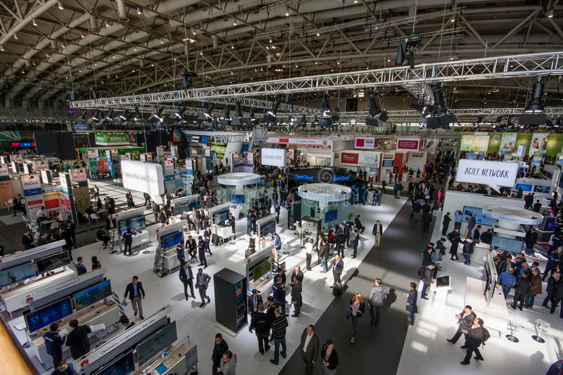Hall 2 at CeBIT information technology trade show. HANNOVER, GERMANY - MARCH 15, 2016: Hall 2 at CeBIT information technology trade show in Hannover, Germany on royalty free stock photos