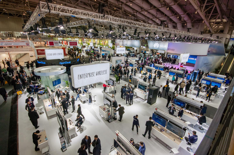 Hall 2 at CeBIT information technology trade show. HANNOVER, GERMANY - MARCH 15, 2016: Hall 2 at CeBIT information technology trade show in Hannover, Germany on stock photo