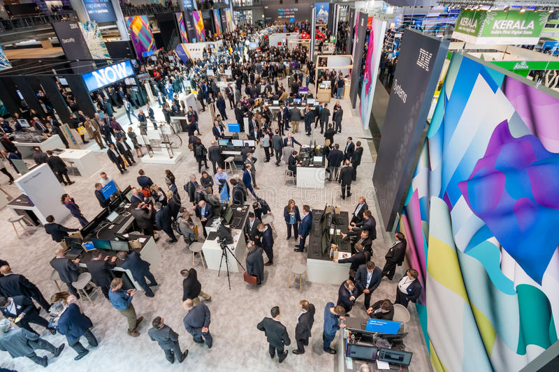 Hall 2 at CeBIT information technology trade show. HANNOVER, GERMANY - MARCH 15, 2016: Hall 2 at CeBIT information technology trade show in Hannover, Germany on stock image