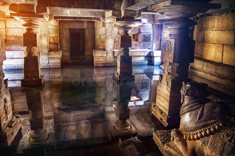 Download Hall with cow in Hampi stock photo. Image of creature - 38808932