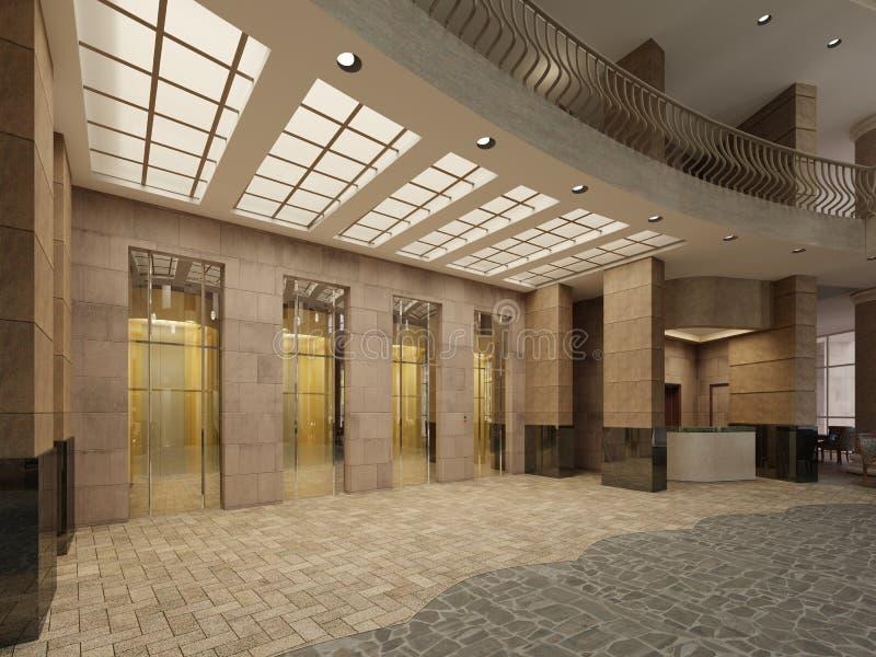 Hall d'ascenseur de marbre et en métal de Brown dans un hôtel avec grandes colonnes Lumière intégrée dans le plafond illustration stock