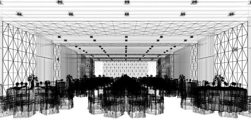 Hall 3d de banquet, rendant illustration libre de droits