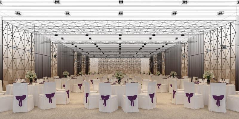 Hall 3d de banquet, rendant illustration stock