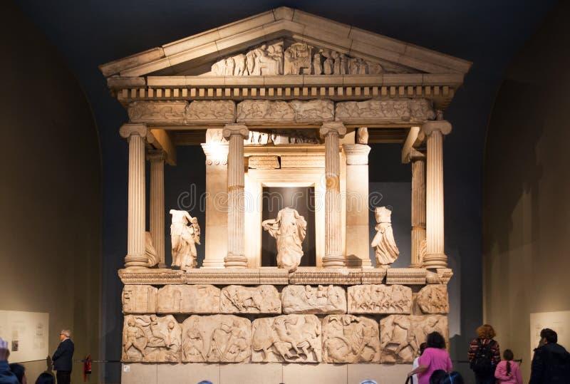 Hall d'exposition de musée britannique Collection du grec ancien de Panthéon images libres de droits