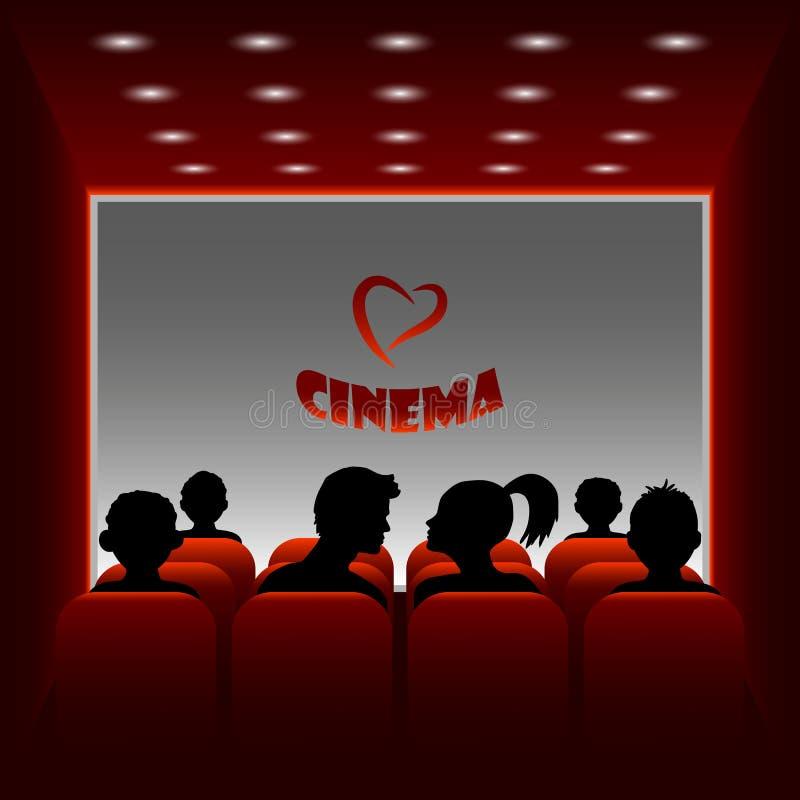 Hall de cinéma de vecteur de bande dessinée Illustration d'un garçon et d'une fille observant un film au sujet de l'amour illustration de vecteur