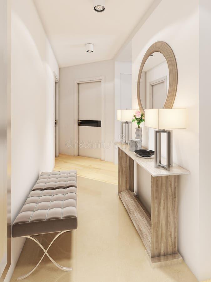 Hall de entrada lujoso en un estilo moderno con una tabla para las llaves y un espejo ilustración del vector