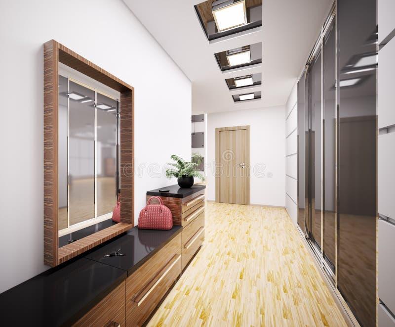 Hall de entrada moderno 3d interior libre illustration