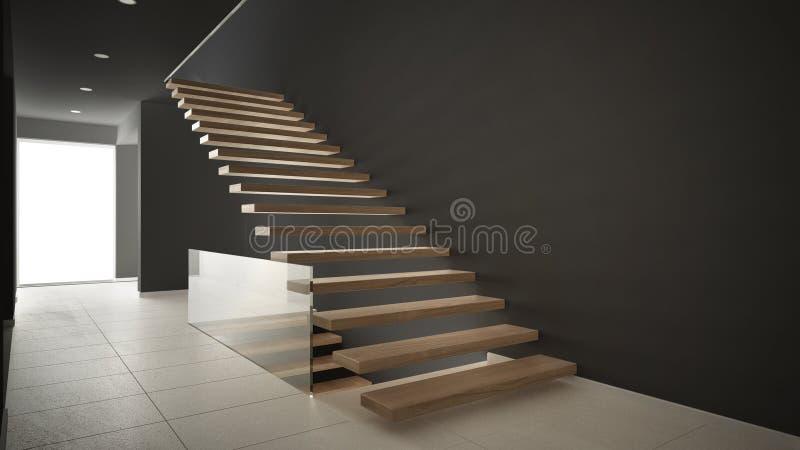 Hall de entrada moderno con la escalera de madera, blanco minimalista y libre illustration