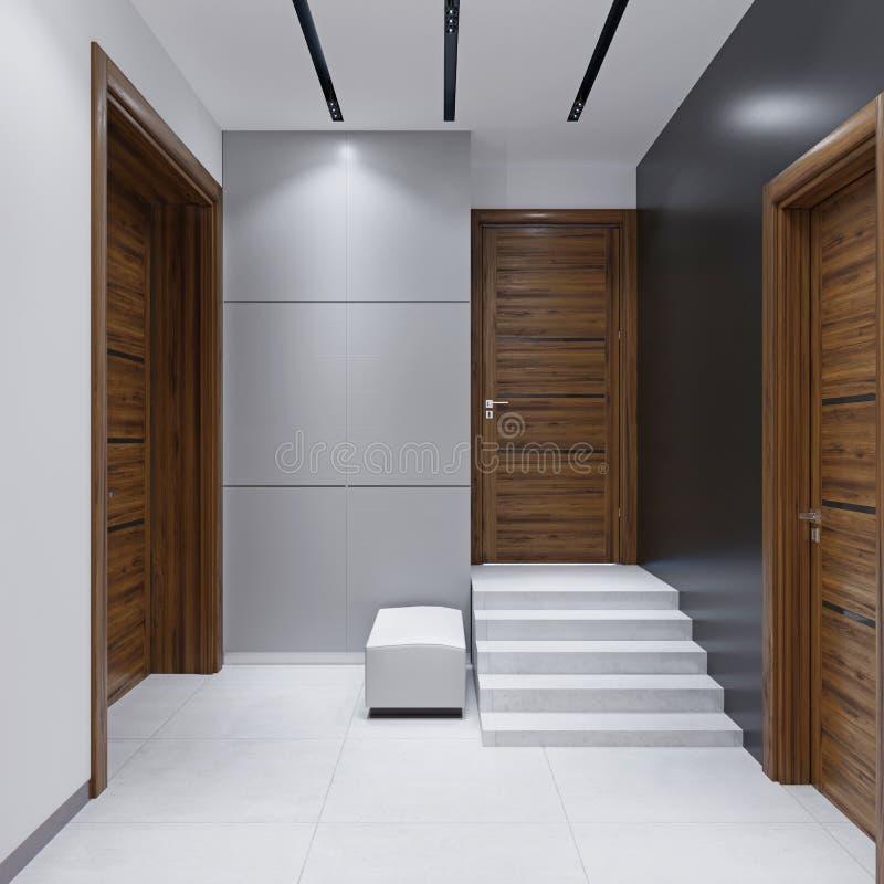 Hall de entrada moderno en un estilo minimalista stock de ilustración