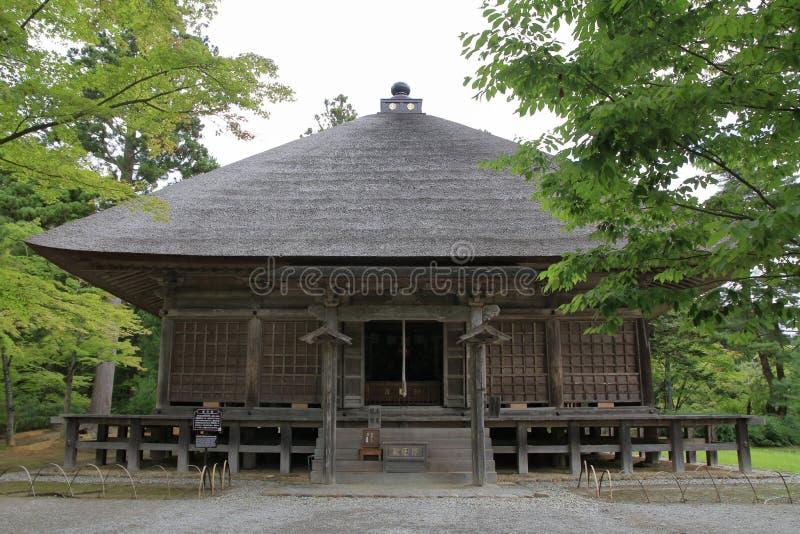 Hall de Jogyo de temple de Motsu dans Hiraizumi images libres de droits