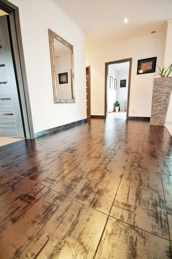 Hall with decorative floor tiles stock photography