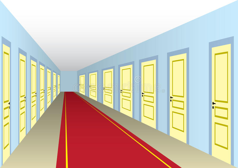 Hall with doors vector illustration