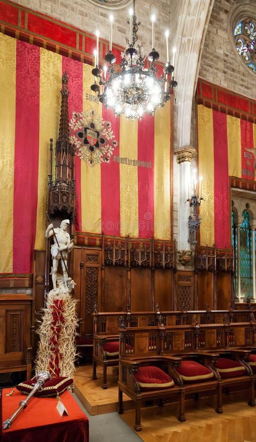 Hall du Conseil de cent dans l'hôtel de ville de Barcelone photographie stock
