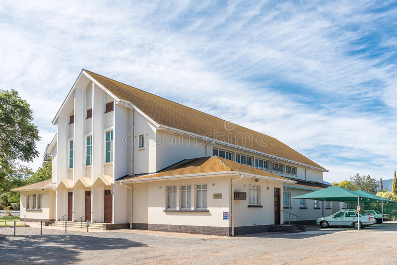 Hall of the Dutch Reformed Church in Bonnievale. BONNIEVALE, SOUTH AFRICA - MARCH 26, 2017: The hall of the Dutch Reformed Church in Bonnievale, a small town in stock photography