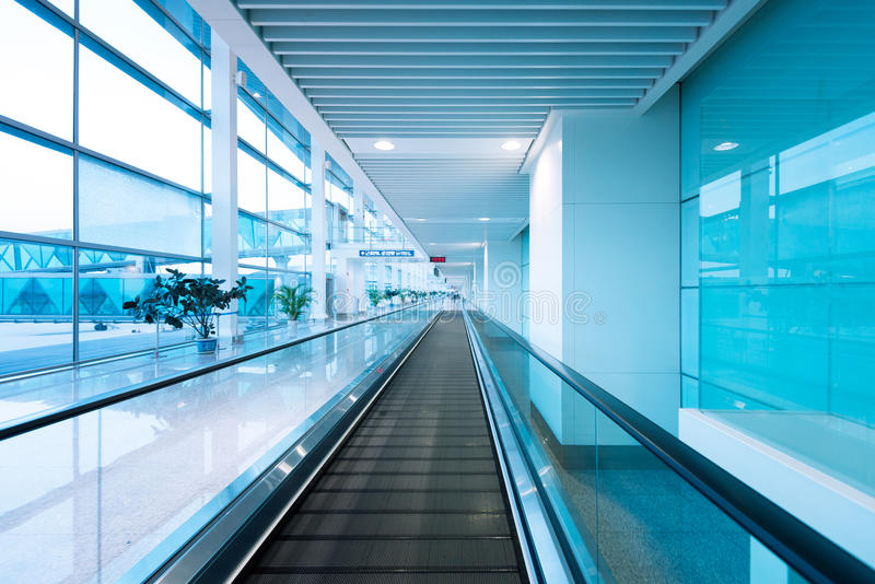Hall and escalators stock photography