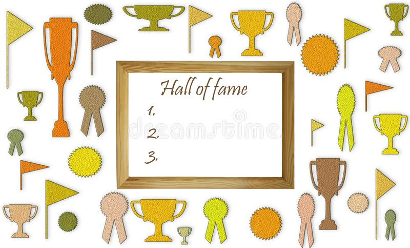 Hall of Fame-Konzept mit freiem leerem Kopienraum Schalen, Medaillen und Ausweise mit Leerraum im Holzrahmenmodell stock abbildung