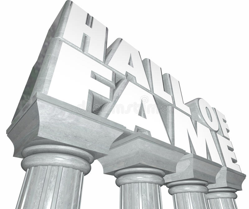 Hall of Fame Words Marble Columns Famous Celebrity Legendary Ind. Hall of Fame words in 3d letters on stone or marble columns to illustrate a legend in sports or vector illustration