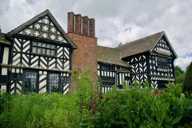 The Hall and the garden. Little Moreton Hall Tudor Manor House near Congleton Cheshire England united kingdom stock images
