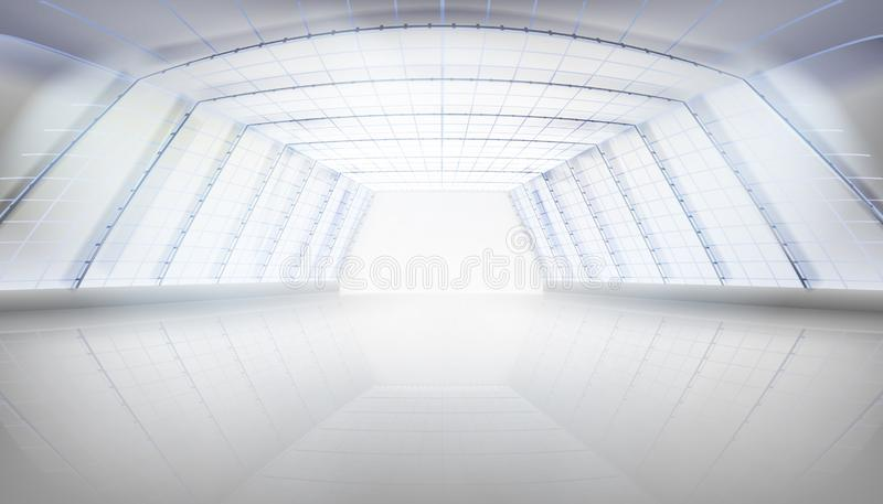 Hall with a glass roof. Vector illustration. vector illustration