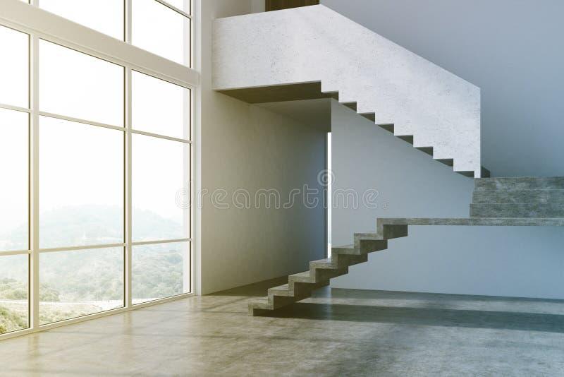 Hall gris vide d'appartement, escaliers modifiés la tonalité illustration de vecteur
