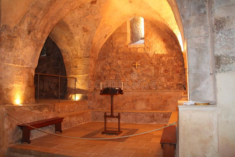 Hall Indside The Benedictine monastery in Abu Ghosh. Hall with arcs and prayer niche inside The Benedictine monastery in Abu Ghosh stock images
