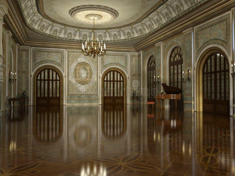Hall Interior grande luxuoso dourado ilustração stock