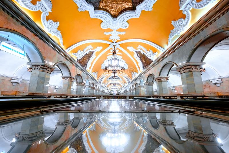 The hall of Komsomolskaya subway station in Moscow underground. royalty free stock images