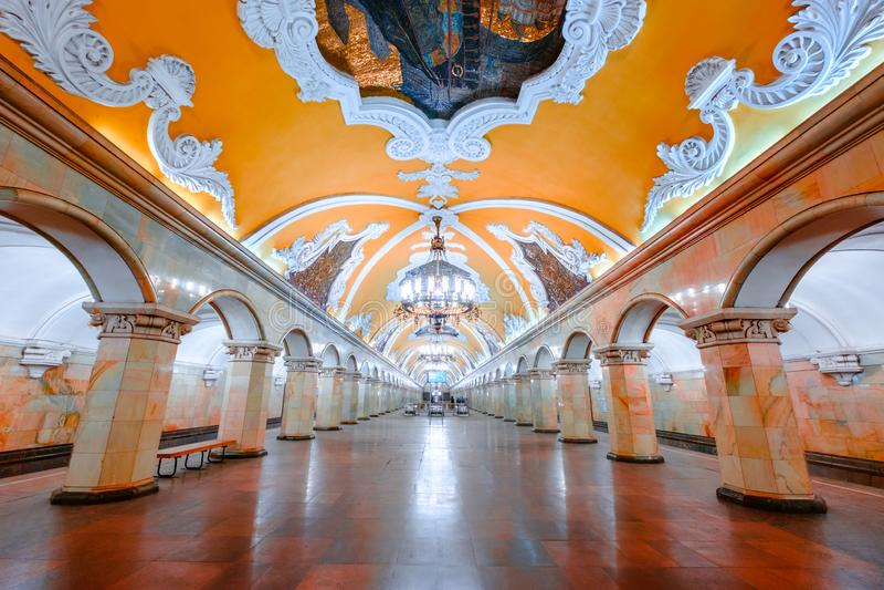 The hall of Komsomolskaya subway station in Moscow underground. royalty free stock photography