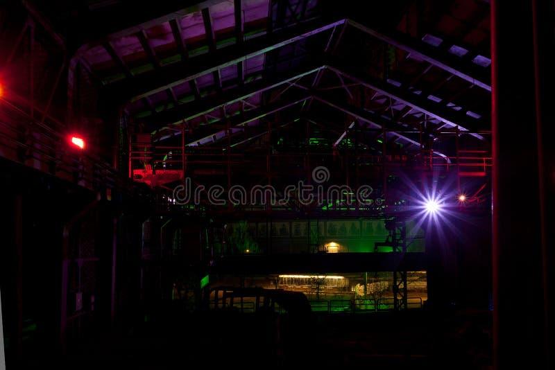 Hall Landschaftspark, Duisbourg, Allemagne, nuit d'usine photographie stock