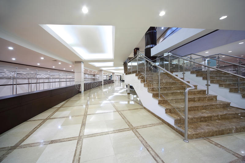 Hall with locker room and staircase stock photography
