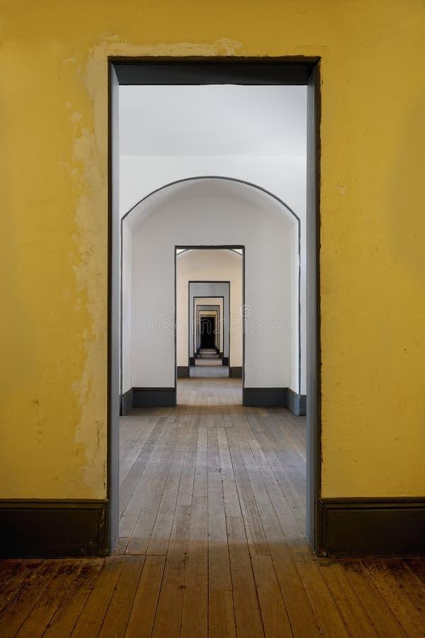 Hall of many doors stock photo