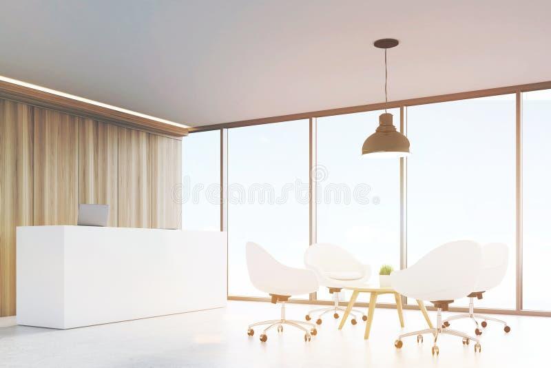 Hall mit hölzernen Wänden, großes panoramisches Fenster, das eine schwarze Deckenleuchte, die über einem Couchtisch umgeben wird  stock abbildung