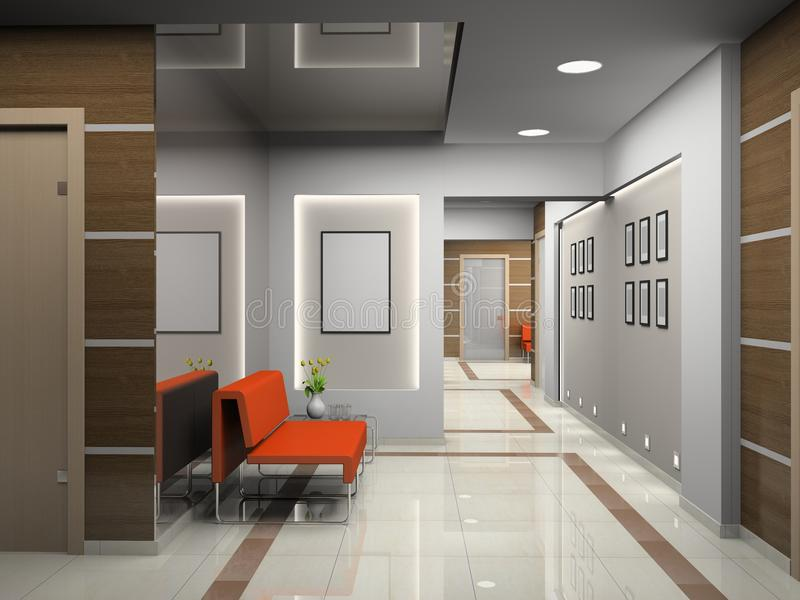 Hall a modern office royalty free illustration