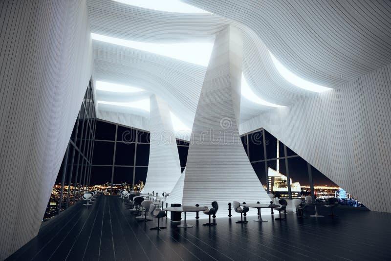hall moderne de restaurant avec le plancher int rieur et. Black Bedroom Furniture Sets. Home Design Ideas