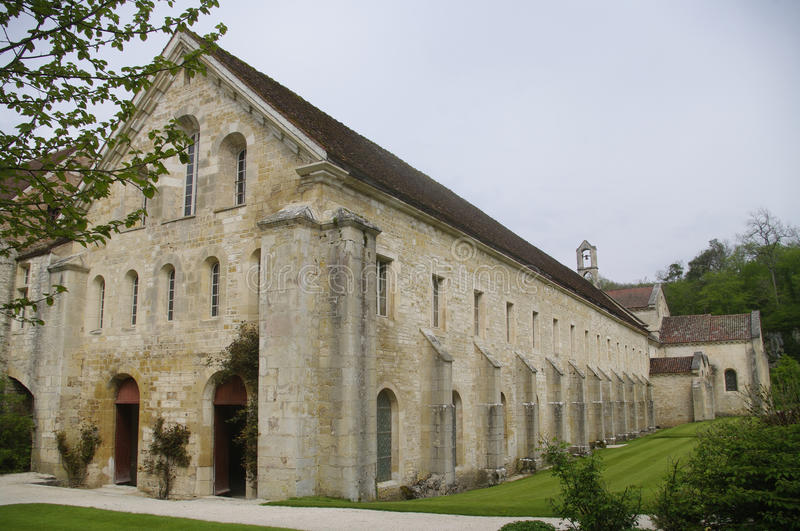 The Hall monks and dormitory at the Abbey of Fontenay stock images